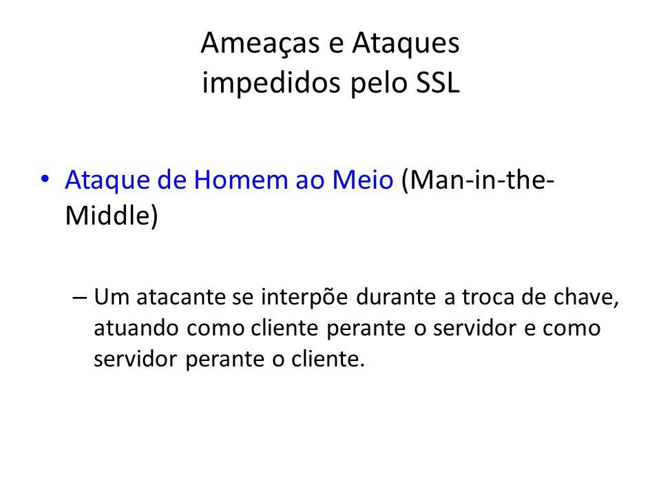 Ameaças e Ataques impedidos pelo SSL Ataque de Homem ao Meio (Man-in-the- Middle) – Um atacante se interpõe durante a troca de chave, atuando como cli