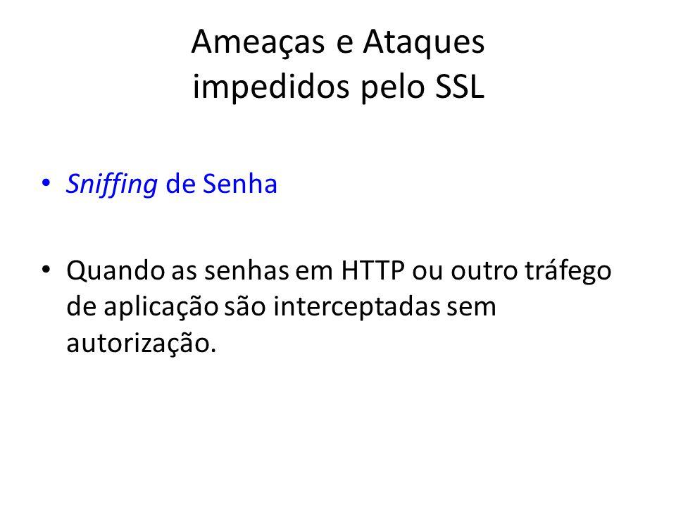 Ameaças e Ataques impedidos pelo SSL Sniffing de Senha Quando as senhas em HTTP ou outro tráfego de aplicação são interceptadas sem autorização.