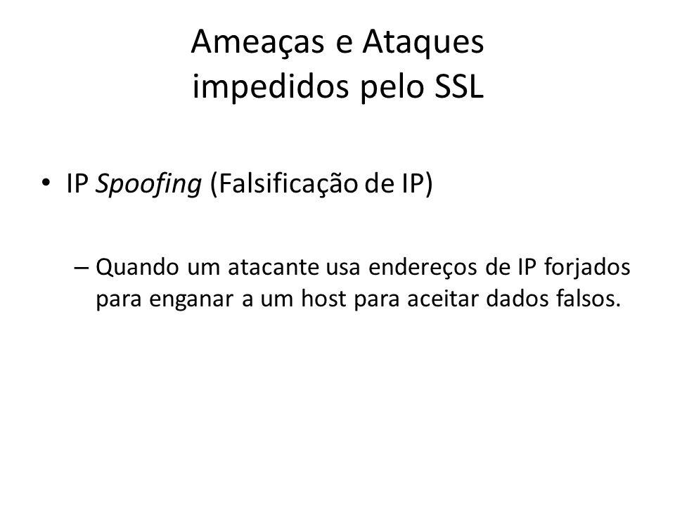Ameaças e Ataques impedidos pelo SSL IP Spoofing (Falsificação de IP) – Quando um atacante usa endereços de IP forjados para enganar a um host para ac