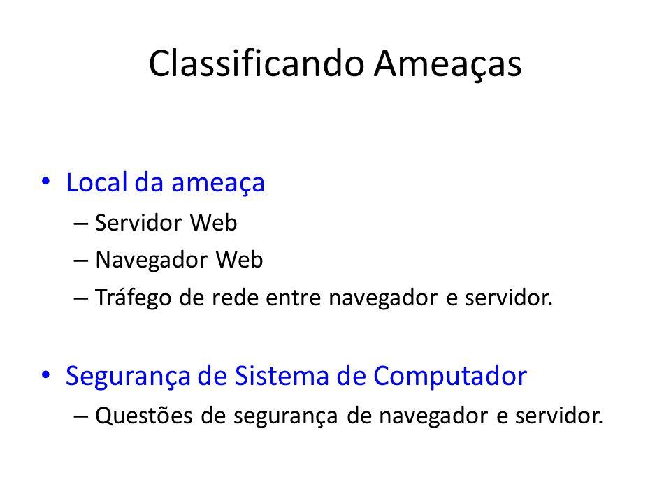 Classificando Ameaças Local da ameaça – Servidor Web – Navegador Web – Tráfego de rede entre navegador e servidor. Segurança de Sistema de Computador