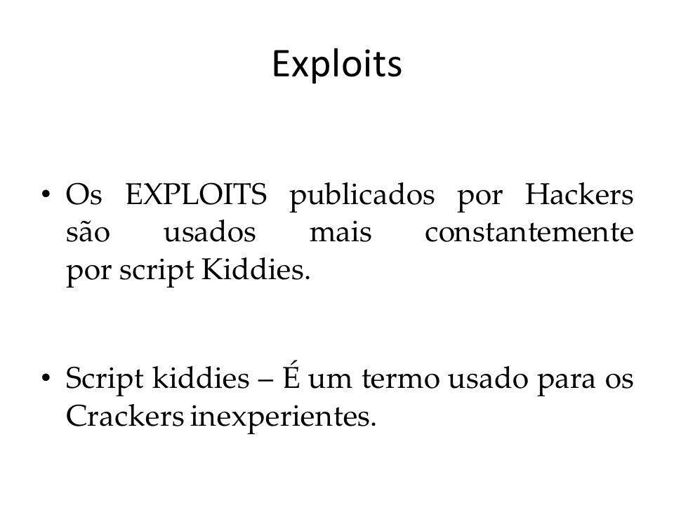 Exploits Nem todos os EXPLOITS são conhecidos, pois Crackers não divulgam EXPLOITS criados.