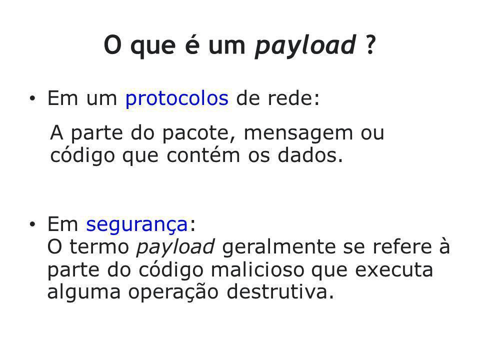 Payload No caso de um exploit, o payload é a parte do código injetada na vítima que vai executar alguma ação: criar um usuário, iniciar um processo, apagar arquivos,...