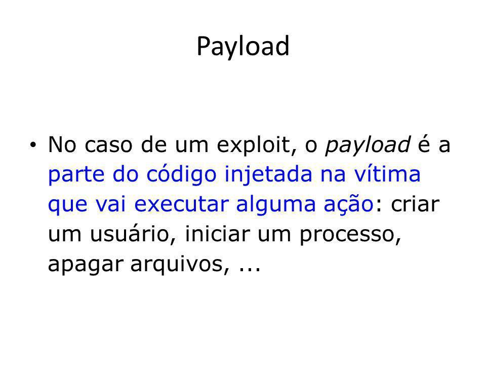 Payload Ou seja, o que for que o atacante quer que seja executado, quando uma vulnerabilidade for explorada com sucesso pelo seu exploit.