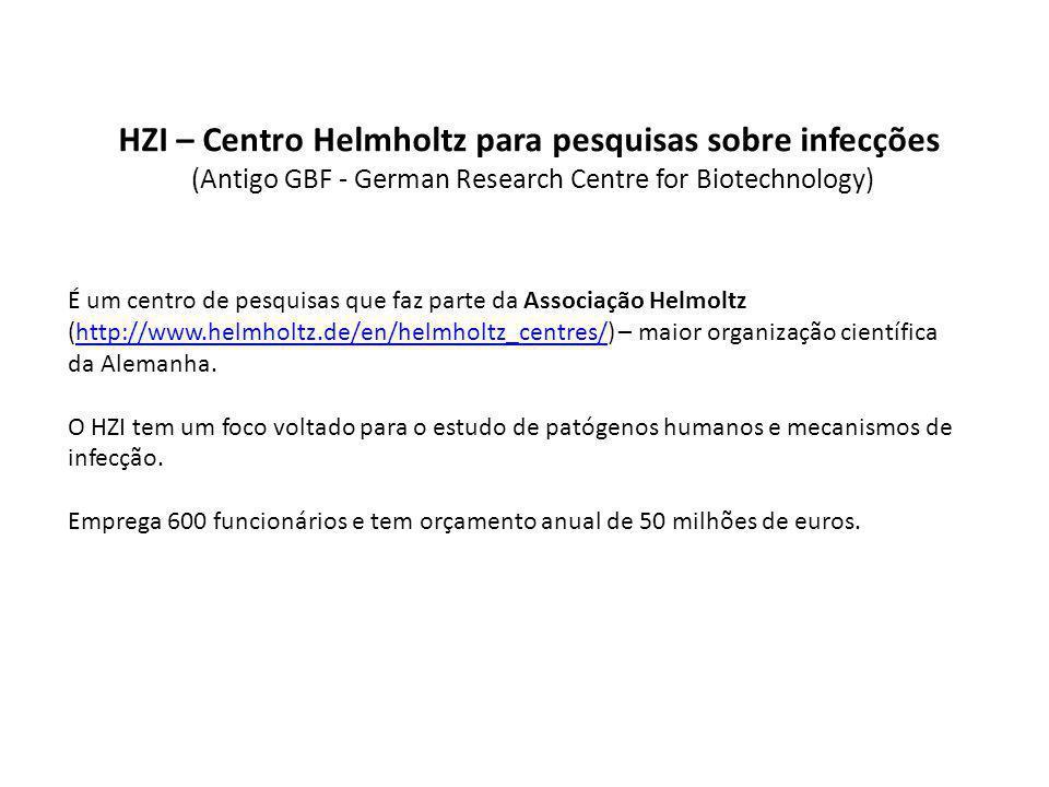 HZI – Centro Helmholtz para pesquisas sobre infecções (Antigo GBF - German Research Centre for Biotechnology) É um centro de pesquisas que faz parte da Associação Helmoltz (http://www.helmholtz.de/en/helmholtz_centres/) – maior organização científica da Alemanha.http://www.helmholtz.de/en/helmholtz_centres/ O HZI tem um foco voltado para o estudo de patógenos humanos e mecanismos de infecção.