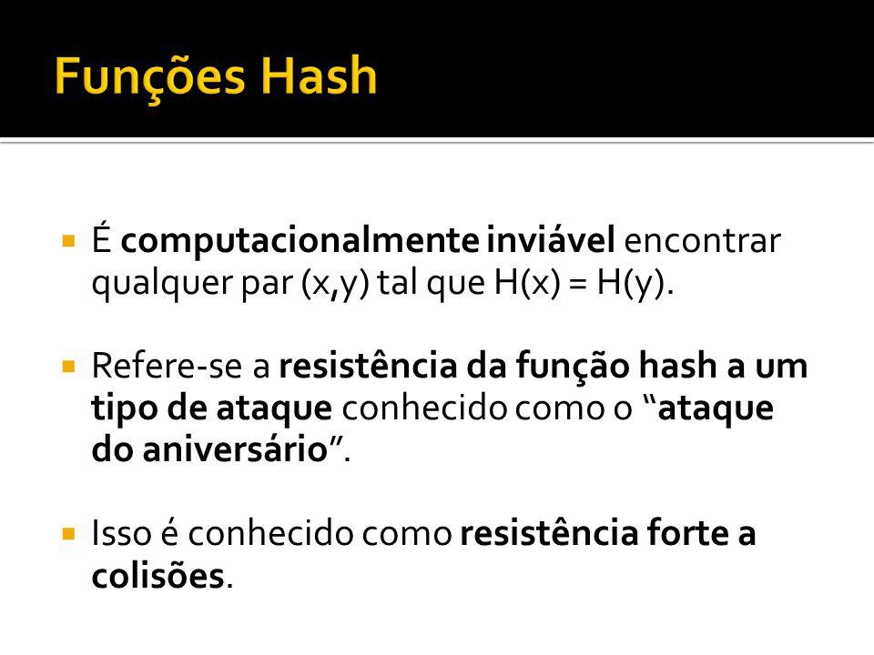 É computacionalmente inviável encontrar qualquer par (x,y) tal que H(x) = H(y). Refere-se a resistência da função hash a um tipo de ataque conhecido c
