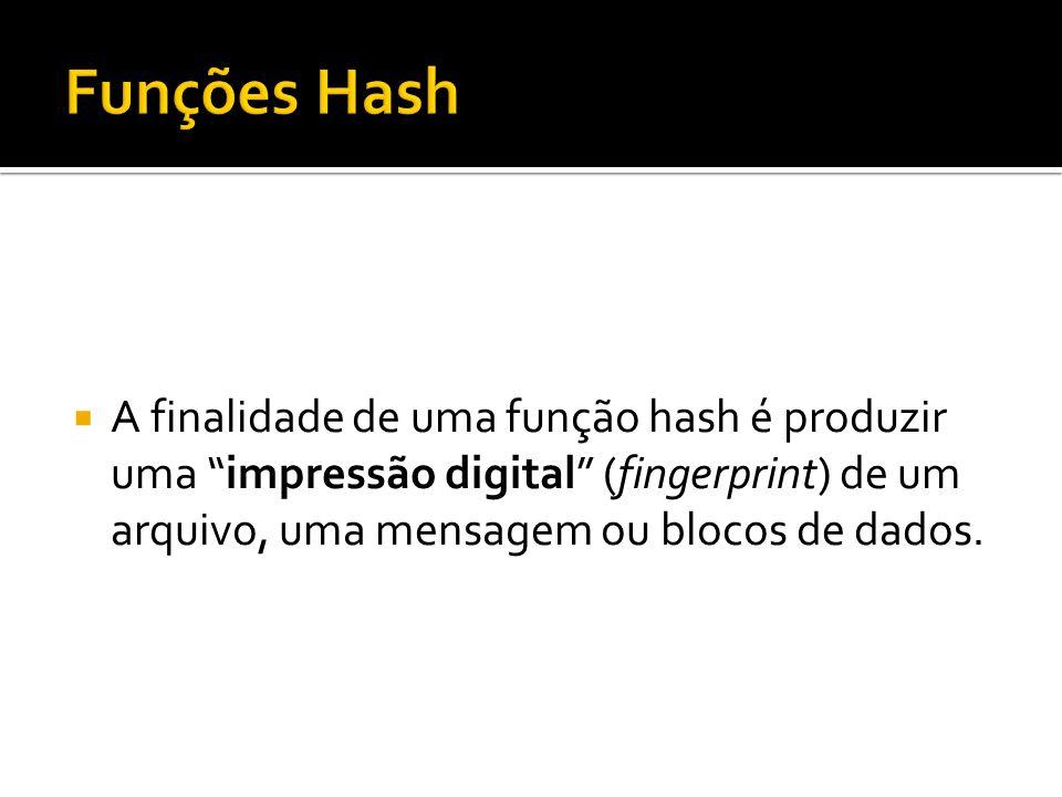 A finalidade de uma função hash é produzir uma impressão digital (fingerprint) de um arquivo, uma mensagem ou blocos de dados.