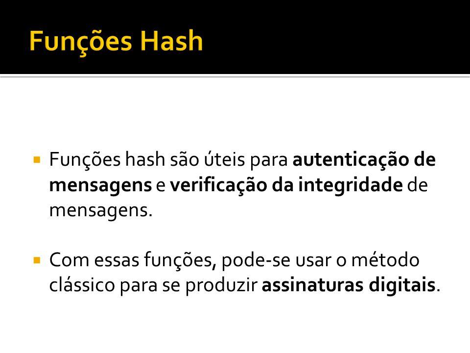 Funções hash são úteis para autenticação de mensagens e verificação da integridade de mensagens. Com essas funções, pode-se usar o método clássico par