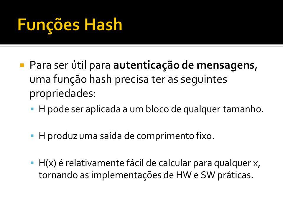Para ser útil para autenticação de mensagens, uma função hash precisa ter as seguintes propriedades: H pode ser aplicada a um bloco de qualquer tamanh