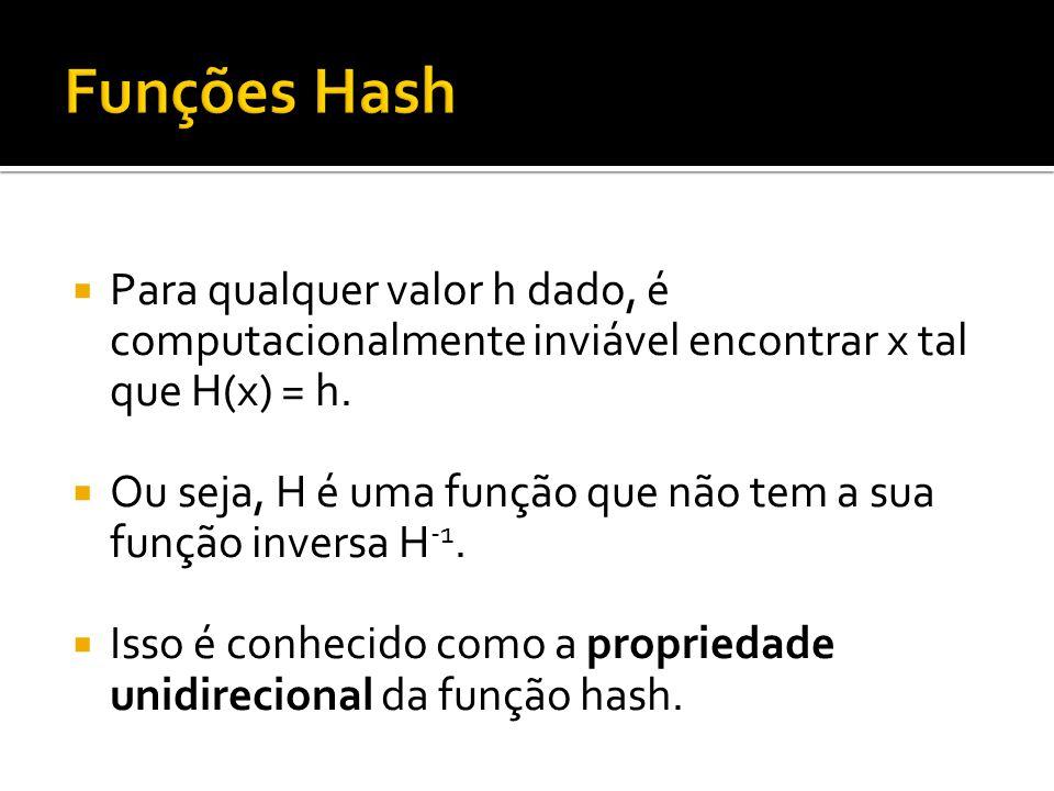 Para qualquer valor h dado, é computacionalmente inviável encontrar x tal que H(x) = h. Ou seja, H é uma função que não tem a sua função inversa H -1.