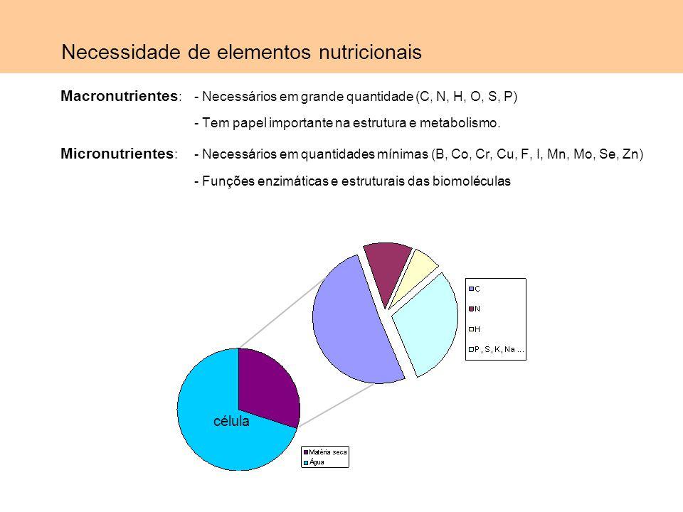 Componentes necessários às células Macronutrientes Fonte de carbono: - Compostos orgânicos (microrganismos heterotróficos ou quimiorganotróficos): carboidratos lipídeos proteínas - Dióxido de carbono (microrganismos autotróficos ou fotoautotróficos): É a forma mais oxidada do carbono, assim a fonte de energia deve vir da luz ou de outros compostos inorgânicos.