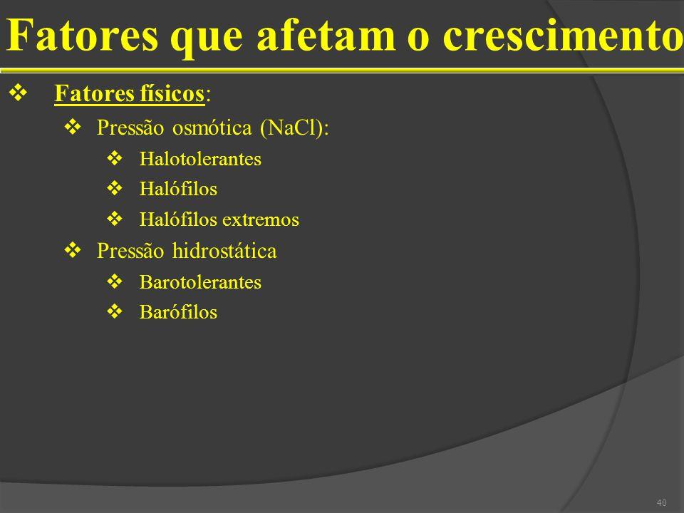 Fatores que afetam o crescimento Fatores físicos: Pressão osmótica (NaCl): Halotolerantes Halófilos Halófilos extremos Pressão hidrostática Barotolerantes Barófilos 40