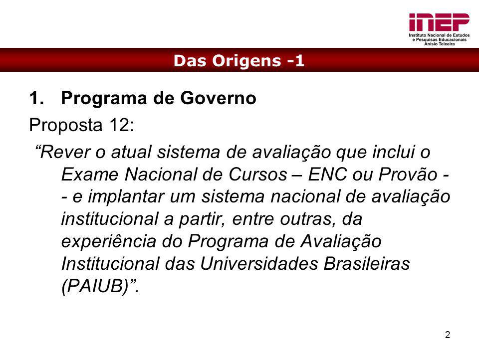 2 1.Programa de Governo Proposta 12: Rever o atual sistema de avaliação que inclui o Exame Nacional de Cursos – ENC ou Provão - - e implantar um siste