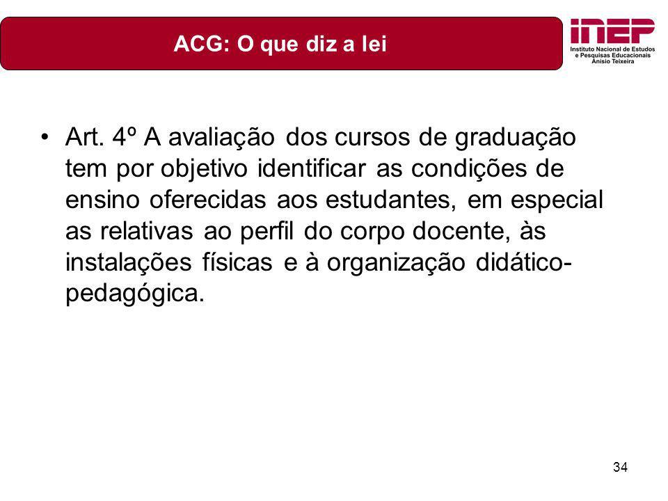 34 Art. 4º A avaliação dos cursos de graduação tem por objetivo identificar as condições de ensino oferecidas aos estudantes, em especial as relativas