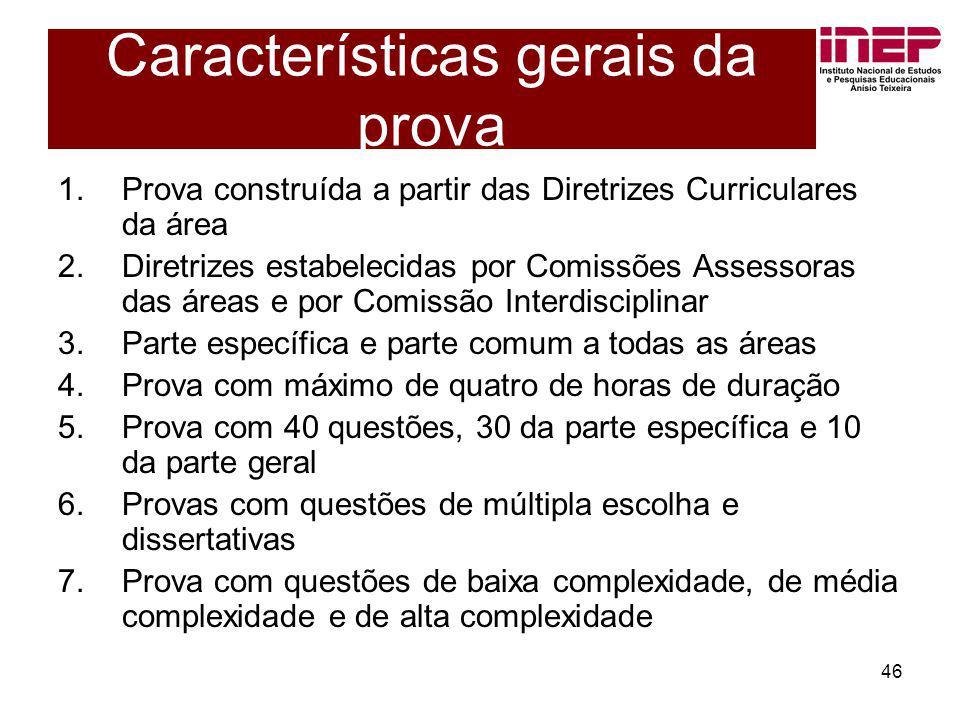 46 Características gerais da prova 1.Prova construída a partir das Diretrizes Curriculares da área 2.Diretrizes estabelecidas por Comissões Assessoras