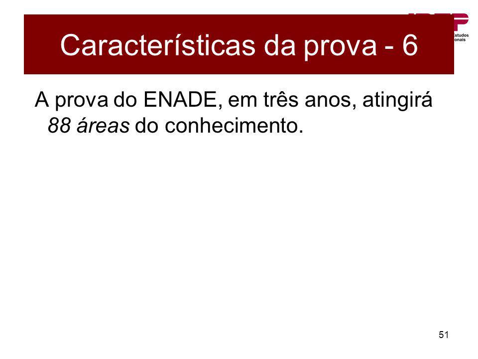 51 A prova do ENADE, em três anos, atingirá 88 áreas do conhecimento. Características da prova - 6