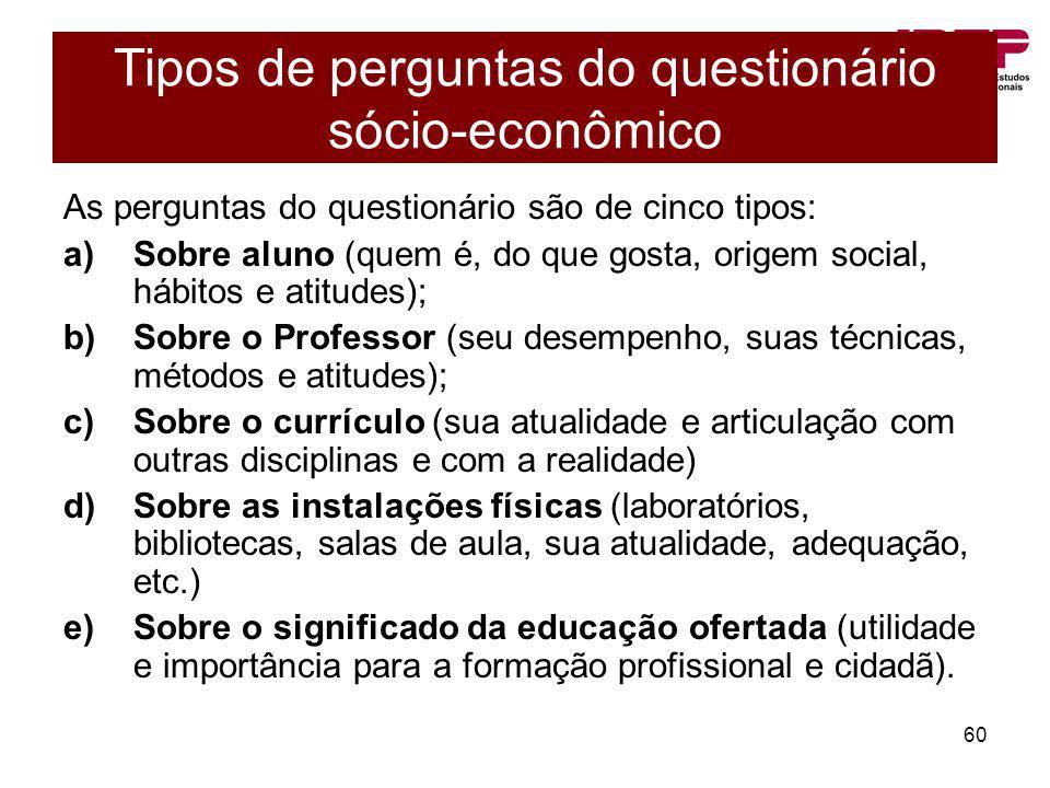 60 Tipos de perguntas do questionário sócio-econômico As perguntas do questionário são de cinco tipos: a)Sobre aluno (quem é, do que gosta, origem soc