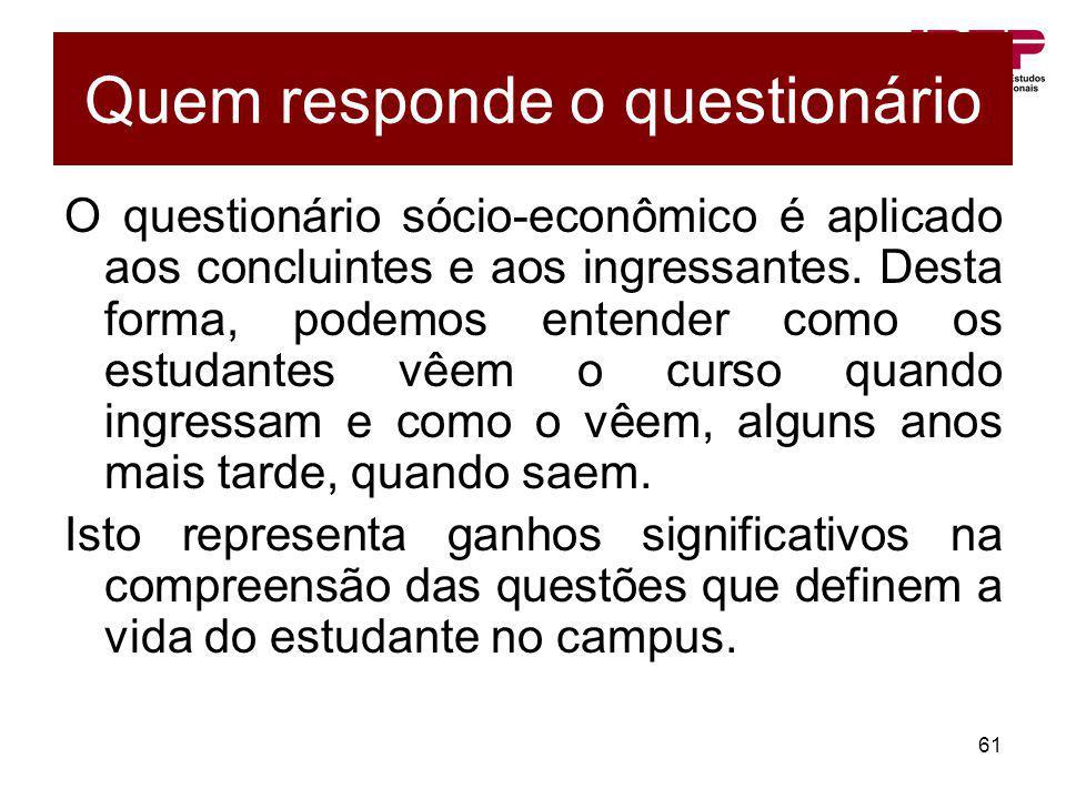 61 Quem responde o questionário O questionário sócio-econômico é aplicado aos concluintes e aos ingressantes. Desta forma, podemos entender como os es
