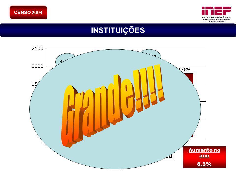 7 Aumento no ano 8,3% 1.859 2.013 CENSO 2004 INSTITUIÇÕES