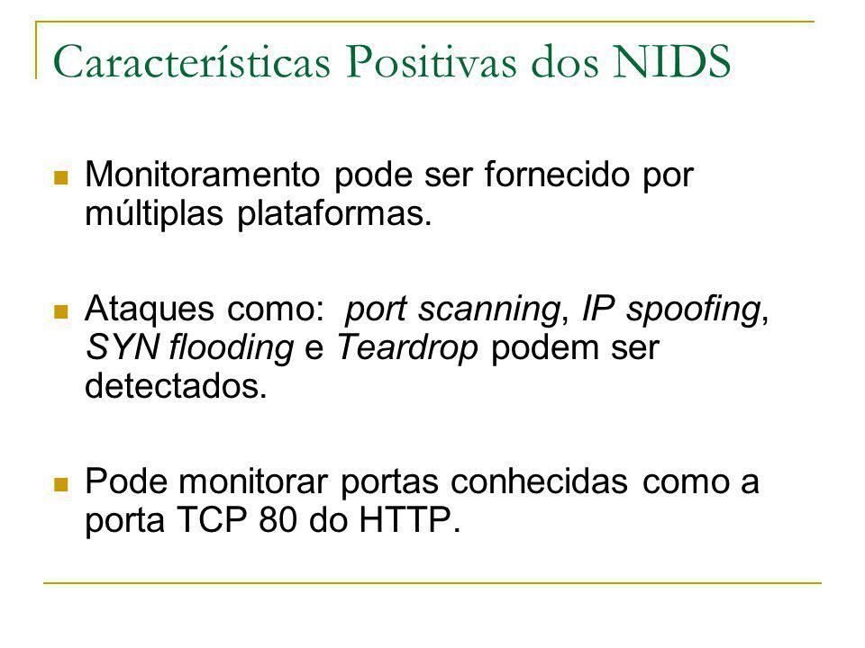 Características Positivas dos NIDS Monitoramento pode ser fornecido por múltiplas plataformas.