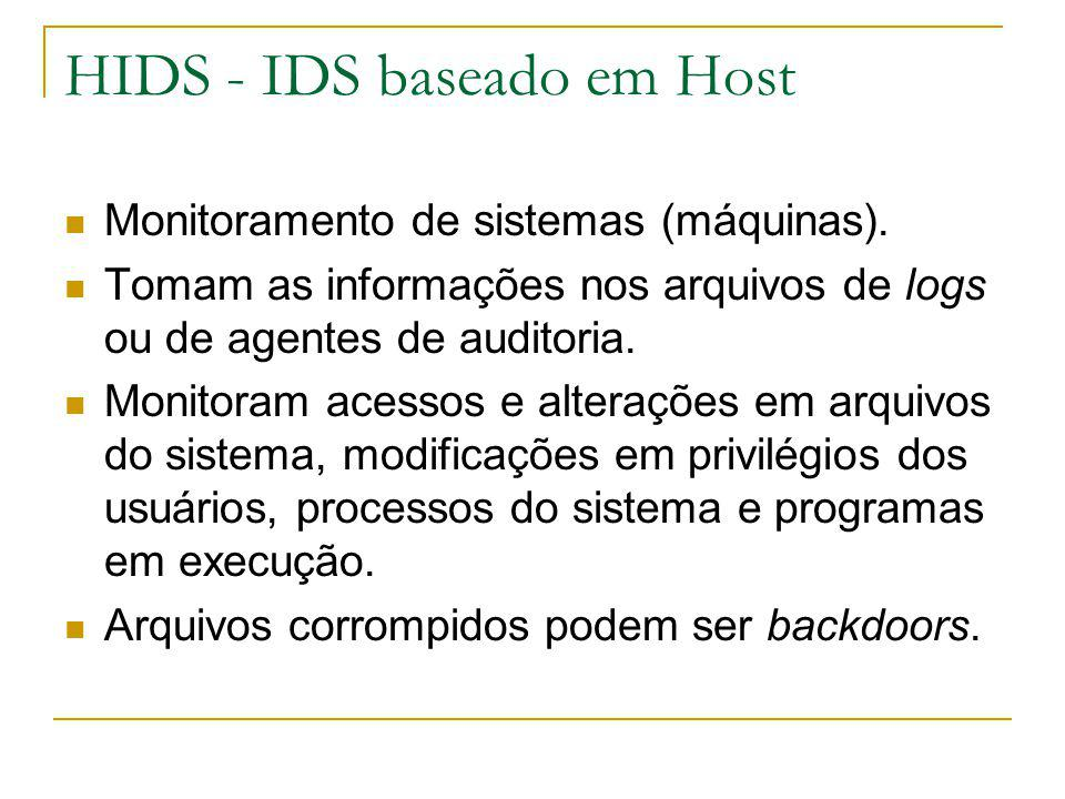 Exemplos de IDS de Hosts Tripware Swatch Portsentry (pode usar o TCP Wrapper) Outros Obs: TCP Wrapper is a host-based network ACL system, used to filter network access to Internet protocol services run on (Unix-like) operating systems such as Linux or BSD.network ACLfilter InternetprotocolservicesUnix-like operating systemsLinuxBSD
