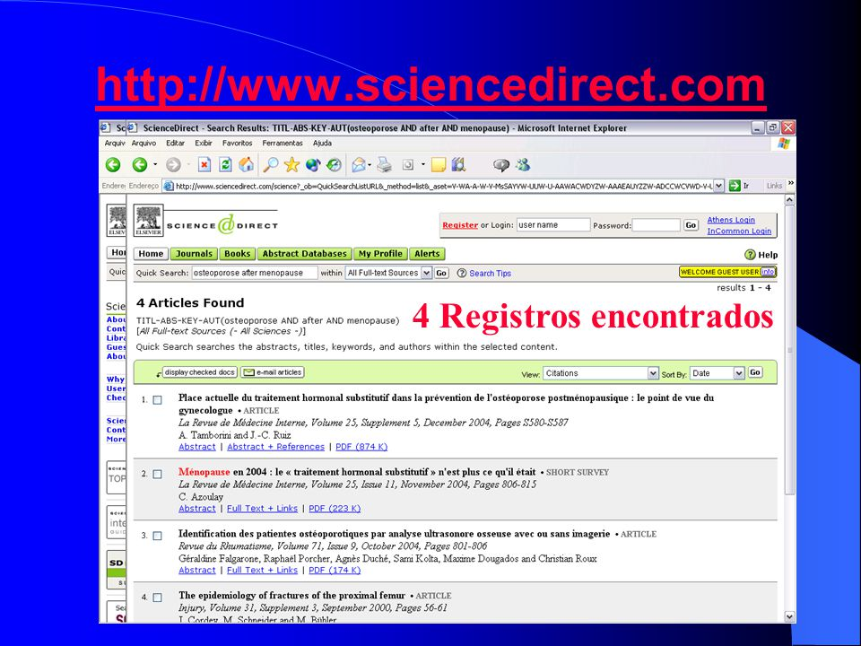 http://www.sciencedirect.com 4 Registros encontrados