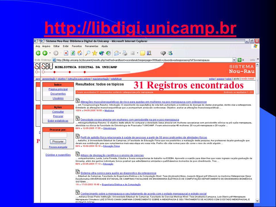 http://libdigi.unicamp.br Pesquisa Avançada 31 Registros encontrados