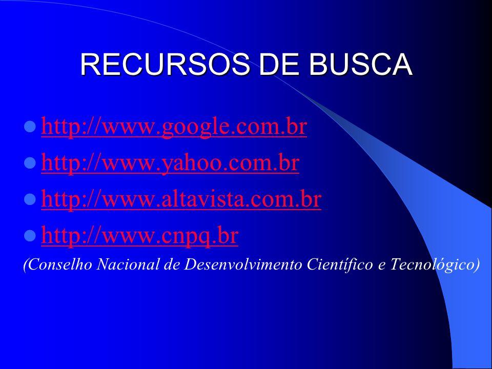 RECURSOS DE BUSCA http://www.google.com.br http://www.yahoo.com.br http://www.altavista.com.br http://www.cnpq.br (Conselho Nacional de Desenvolviment