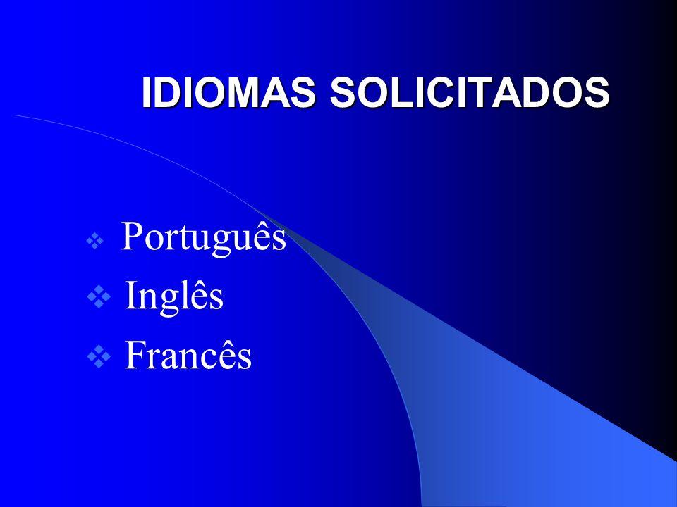 IDIOMAS SOLICITADOS Português Inglês Francês