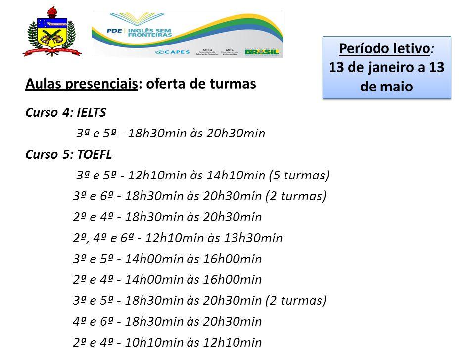 Aulas presenciais: oferta de turmas Curso 4: IELTS 3ª e 5ª - 18h30min às 20h30min Curso 5: TOEFL 3ª e 5ª - 12h10min às 14h10min (5 turmas) 3ª e 6ª - 18h30min às 20h30min (2 turmas) 2ª e 4ª - 18h30min às 20h30min 2ª, 4ª e 6ª - 12h10min às 13h30min 3ª e 5ª - 14h00min às 16h00min 2ª e 4ª - 14h00min às 16h00min 3ª e 5ª - 18h30min às 20h30min (2 turmas) 4ª e 6ª - 18h30min às 20h30min 2ª e 4ª - 10h10min às 12h10min Período letivo: 13 de janeiro a 13 de maio Período letivo: 13 de janeiro a 13 de maio