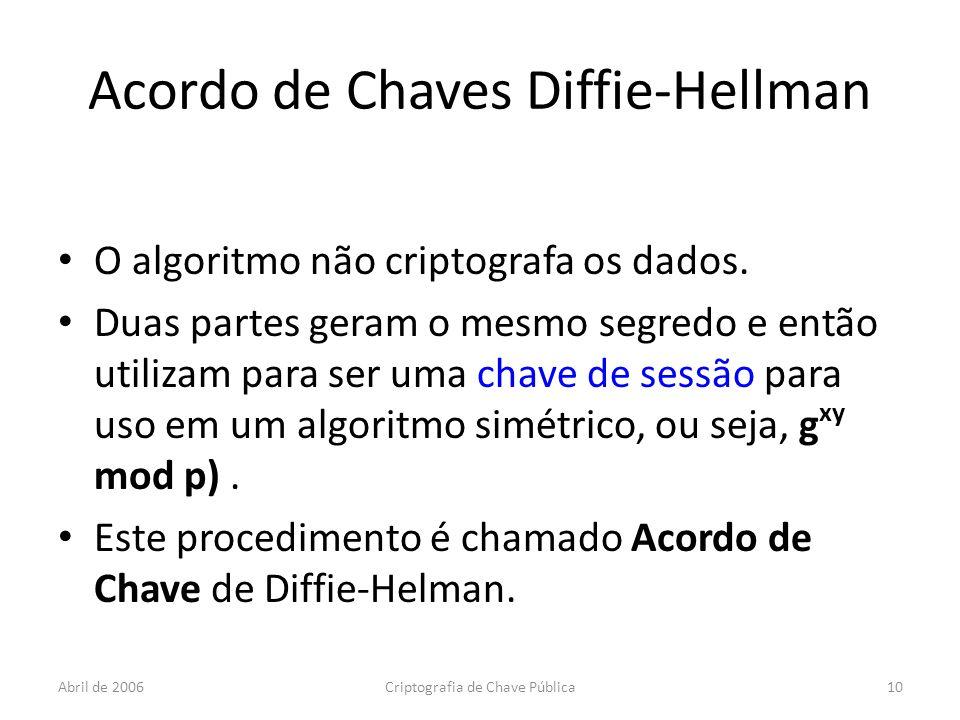 Abril de 2006Criptografia de Chave Pública10 Acordo de Chaves Diffie-Hellman O algoritmo não criptografa os dados.