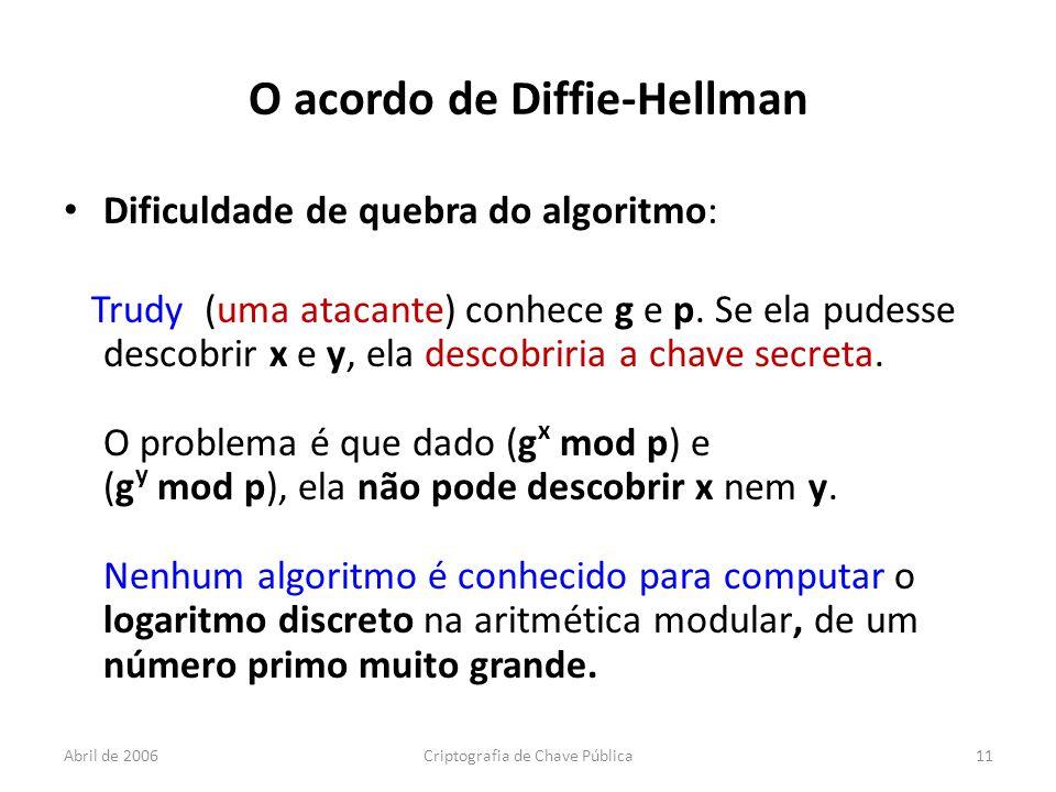 Abril de 2006Criptografia de Chave Pública11 O acordo de Diffie-Hellman Dificuldade de quebra do algoritmo: Trudy (uma atacante) conhece g e p.