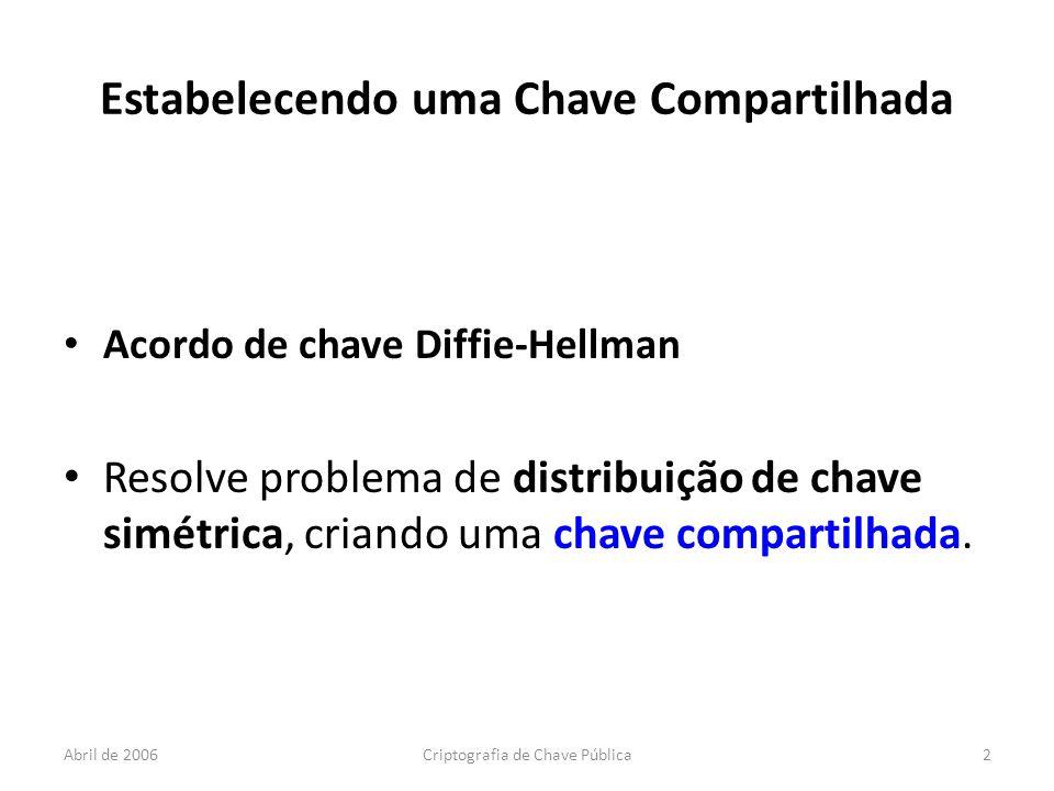 Abril de 2006Criptografia de Chave Pública2 Estabelecendo uma Chave Compartilhada Acordo de chave Diffie-Hellman Resolve problema de distribuição de chave simétrica, criando uma chave compartilhada.