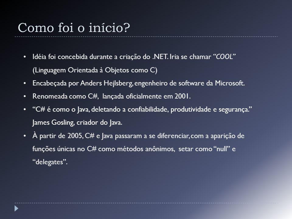 Como foi o início? Idéia foi concebida durante a criação do.NET. Iria se chamar COOL (Linguagem Orientada à Objetos como C) Encabeçada por Anders Hejl