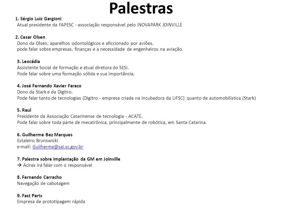 Palestras 1. Sérgio Luiz Gargioni Atual presidente da FAPESC - associação responsável pelo INOVAPARK JOINVILLE 2. Cesar Olsen Dono da Olsen, aparelhos