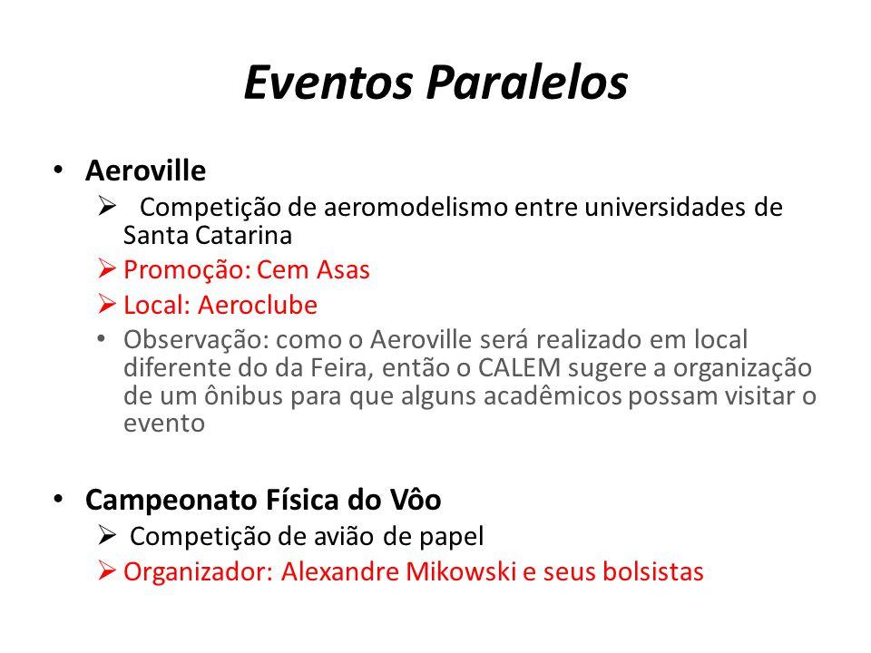 Eventos Paralelos Aeroville Competição de aeromodelismo entre universidades de Santa Catarina Promoção: Cem Asas Local: Aeroclube Observação: como o A