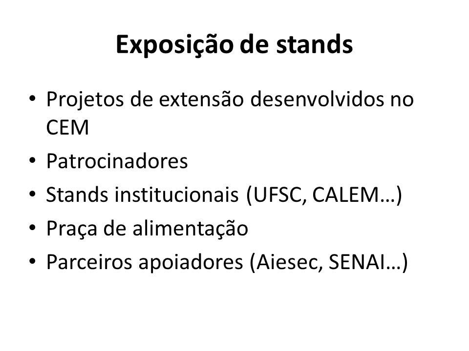 Exposição de stands Projetos de extensão desenvolvidos no CEM Patrocinadores Stands institucionais (UFSC, CALEM…) Praça de alimentação Parceiros apoia