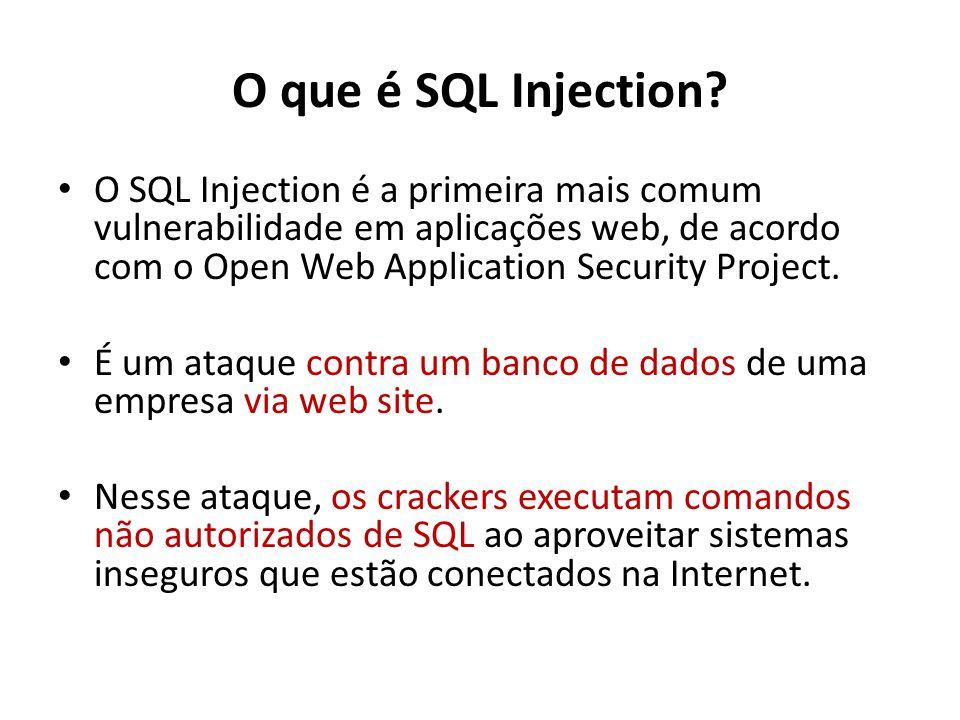 O que é SQL Injection? O SQL Injection é a primeira mais comum vulnerabilidade em aplicações web, de acordo com o Open Web Application Security Projec