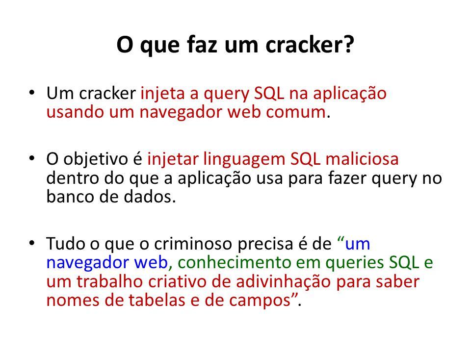 O que faz um cracker? Um cracker injeta a query SQL na aplicação usando um navegador web comum. O objetivo é injetar linguagem SQL maliciosa dentro do