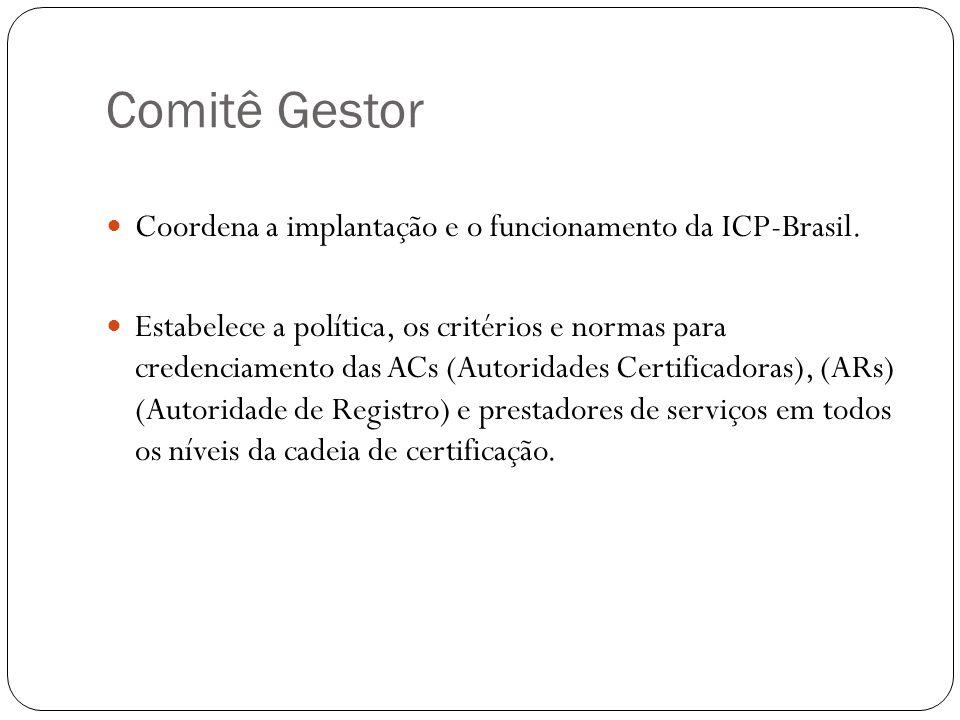 Comitê Gestor Coordena a implantação e o funcionamento da ICP-Brasil. Estabelece a política, os critérios e normas para credenciamento das ACs (Autori