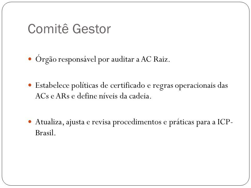 Comitê Gestor Órgão responsável por auditar a AC Raiz. Estabelece políticas de certificado e regras operacionais das ACs e ARs e define níveis da cade