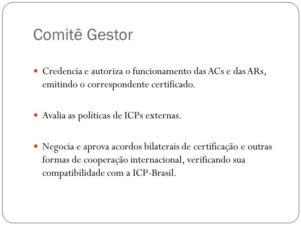 Comitê Gestor Credencia e autoriza o funcionamento das ACs e das ARs, emitindo o correspondente certificado. Avalia as políticas de ICPs externas. Neg