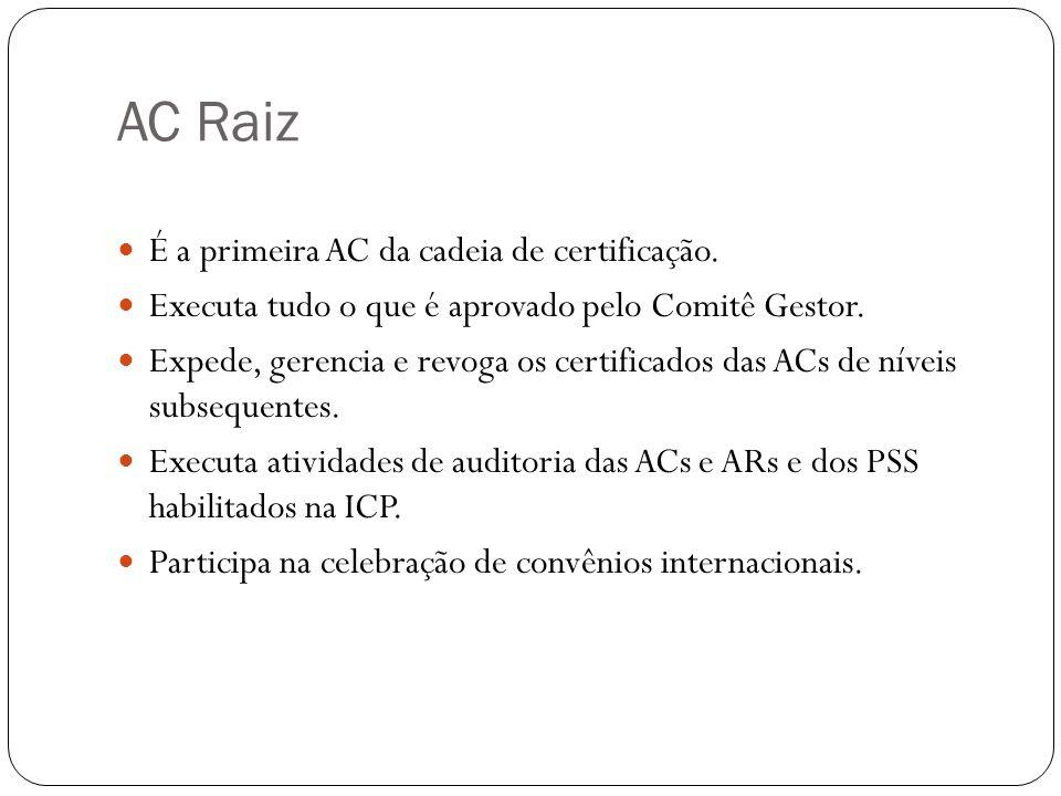 AC Raiz É a primeira AC da cadeia de certificação. Executa tudo o que é aprovado pelo Comitê Gestor. Expede, gerencia e revoga os certificados das ACs
