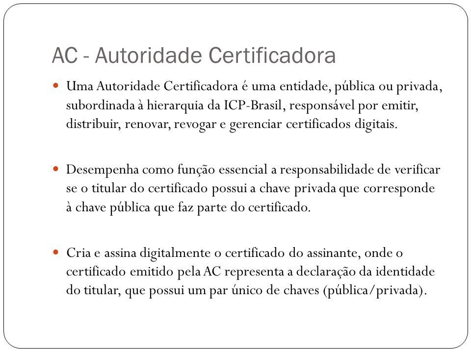 AC - Autoridade Certificadora Uma Autoridade Certificadora é uma entidade, pública ou privada, subordinada à hierarquia da ICP-Brasil, responsável por emitir, distribuir, renovar, revogar e gerenciar certificados digitais.