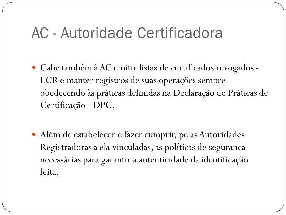 AC - Autoridade Certificadora Cabe também à AC emitir listas de certificados revogados - LCR e manter registros de suas operações sempre obedecendo às práticas definidas na Declaração de Práticas de Certificação - DPC.