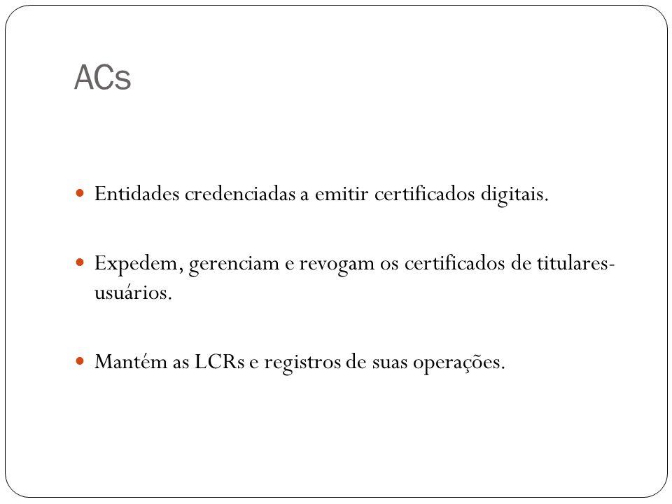 ACs Entidades credenciadas a emitir certificados digitais. Expedem, gerenciam e revogam os certificados de titulares- usuários. Mantém as LCRs e regis