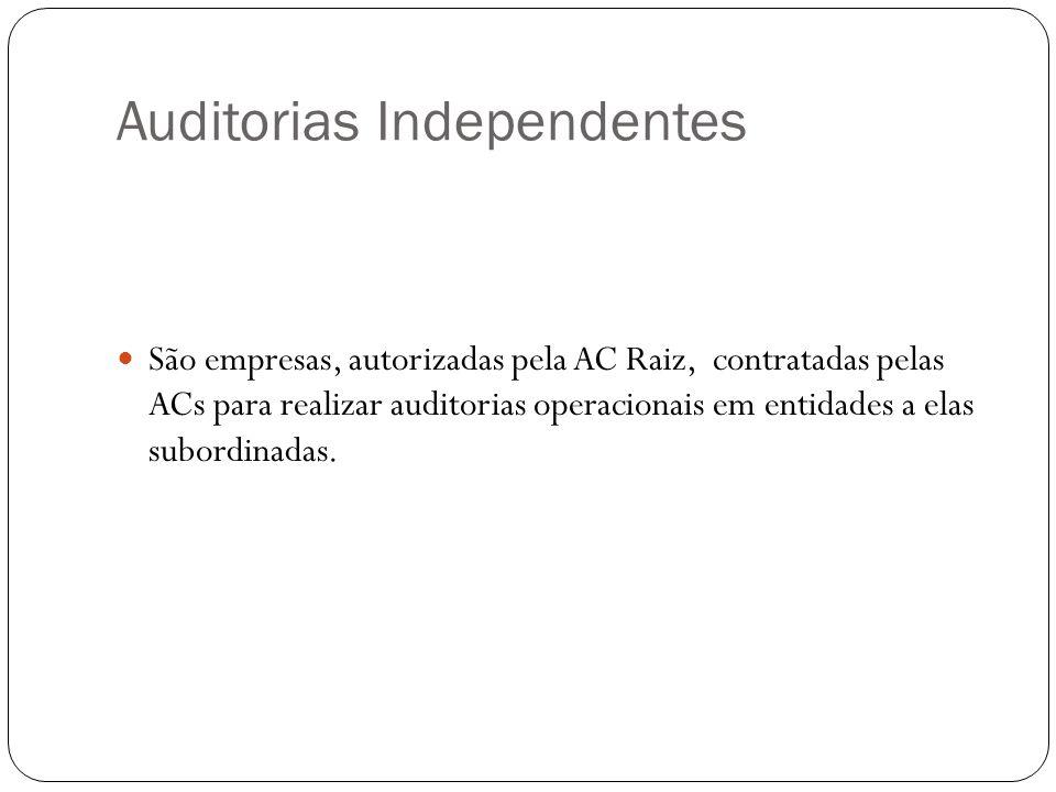 Auditorias Independentes São empresas, autorizadas pela AC Raiz, contratadas pelas ACs para realizar auditorias operacionais em entidades a elas subordinadas.
