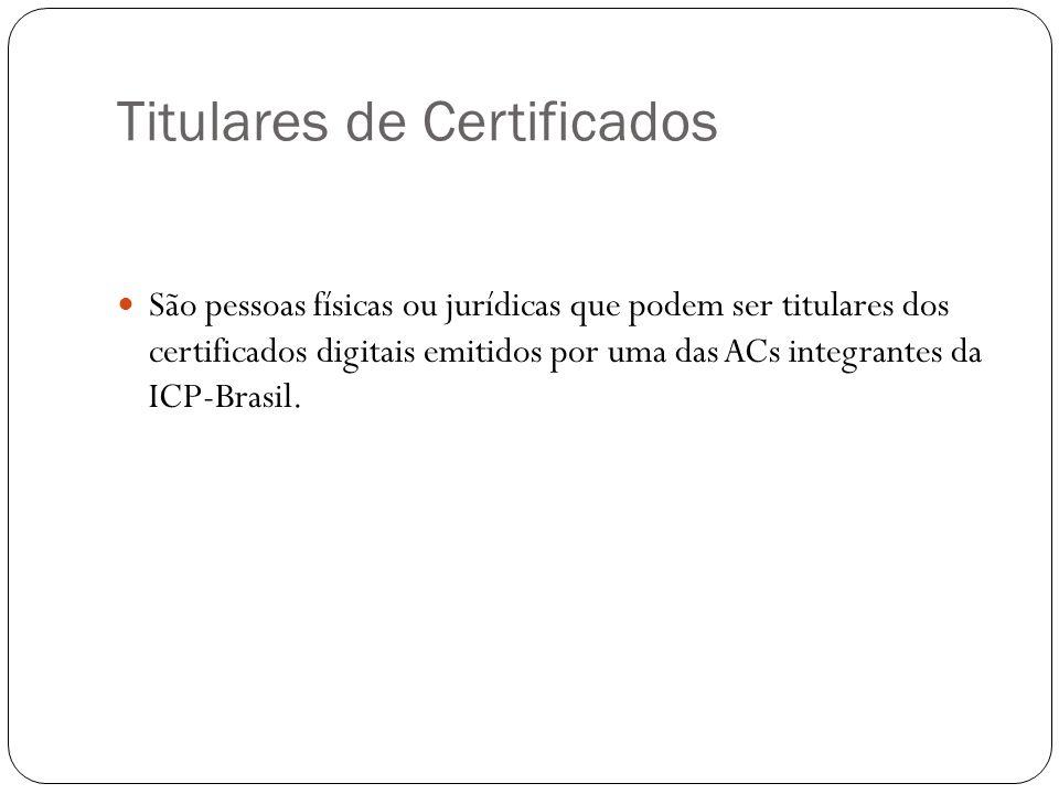 Titulares de Certificados São pessoas físicas ou jurídicas que podem ser titulares dos certificados digitais emitidos por uma das ACs integrantes da ICP-Brasil.