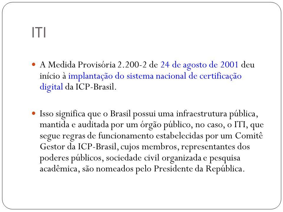 ITI A Medida Provisória 2.200-2 de 24 de agosto de 2001 deu início à implantação do sistema nacional de certificação digital da ICP-Brasil. Isso signi