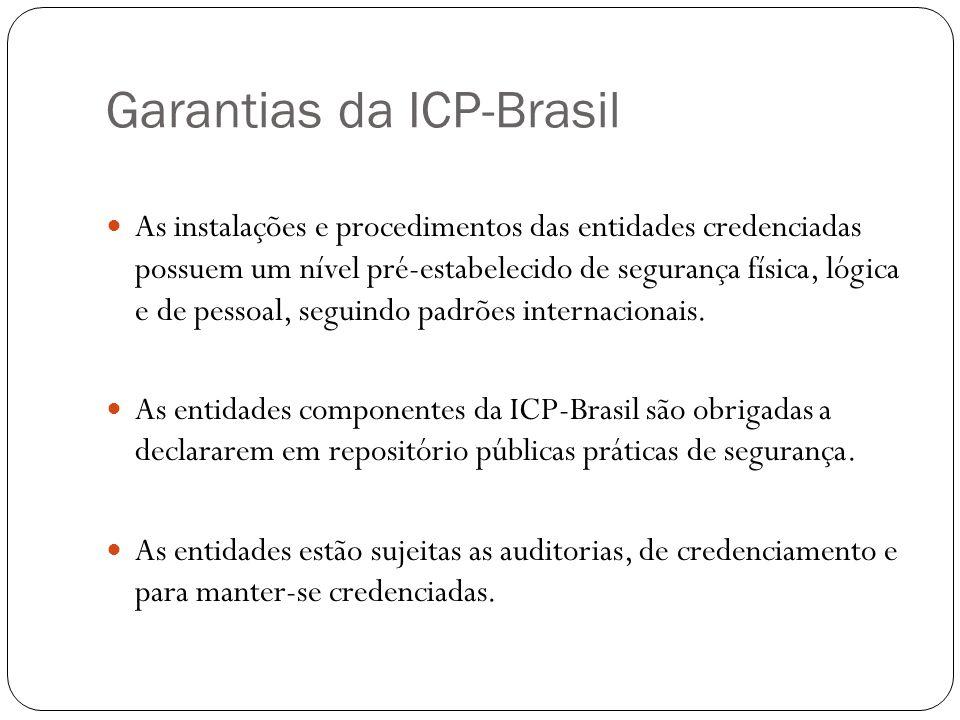 Garantias da ICP-Brasil As instalações e procedimentos das entidades credenciadas possuem um nível pré-estabelecido de segurança física, lógica e de pessoal, seguindo padrões internacionais.