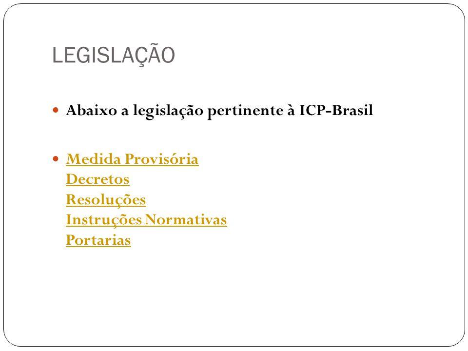 LEGISLAÇÃO Abaixo a legislação pertinente à ICP-Brasil Medida Provisória Decretos Resoluções Instruções Normativas Portarias Medida Provisória Decretos Resoluções Instruções Normativas Portarias